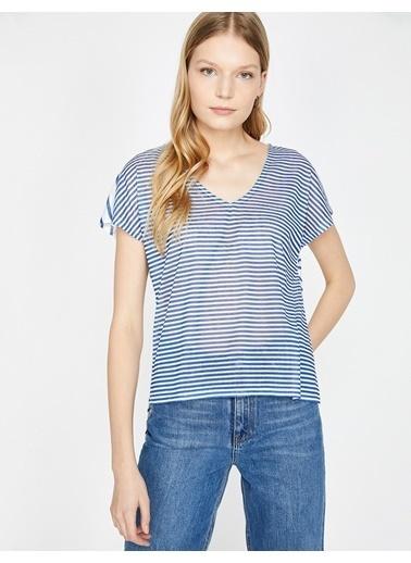 Koton Koton Çizgili Mavi T-Shirt Lacivert